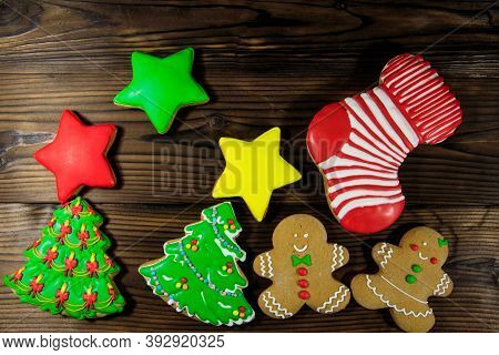 Tasty Festive Christmas Gingerbread Cookies In The Shape Of Christmas Tree, Gingerbread Man, Star An