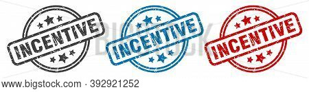 Incentive Stamp. Incentive Round Isolated Sign. Incentive Label Set