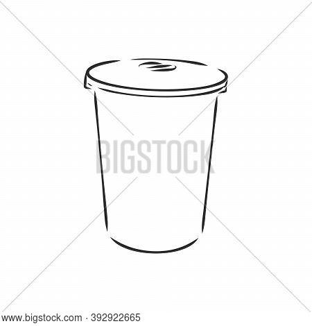 Sketched Empty Trash Bin Desktop Icon. Doodle Design Element In Vector, Trash Can Vector Sketch Illu