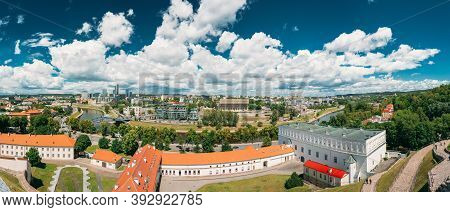 Vilnius, Lithuania - July 5, 2016: Panorama Cityscape Modern City And Part Of Old Town. New Arsenal,