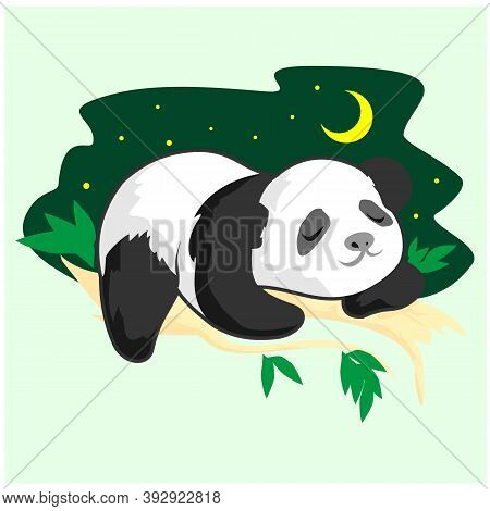 Little Panda In A Hat Wants To Sleep. Illustration For Children.