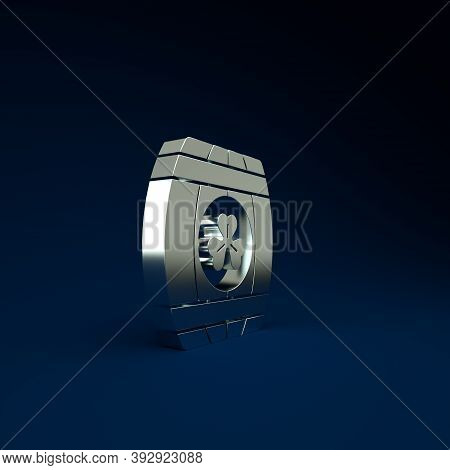 Silver Wooden Barrel With Four Leaf Clover Icon Isolated On Blue Background. Alcohol Barrel, Wooden