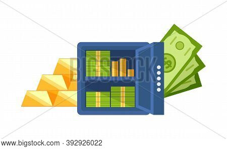 Strongbox Filled With Money Vector, Isolated Banknotes And Coins On Shelves, Gold Bars Wealthy Finan