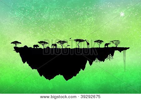 Silhouette Safari Floating Island With Trees And Animals