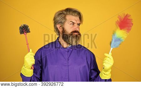 Cleaning Apartment. Polypropylene Duster. Hipster Hold Cleaning Tool. Cleaning Concept. Man Use Pp D