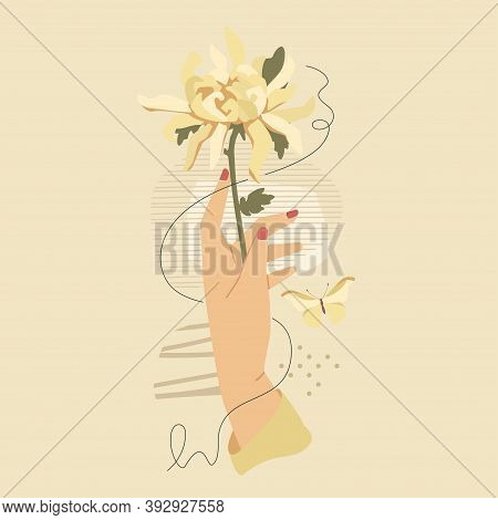 Hand With White Chrysanthemum Flower Over Modern Abstract Shapes. Vector Fashion Vintage Style Illus