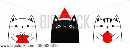 Cat Set Holding Merry Christmas Ball, Gift Box. Santa Hat. Funny Kawaii Doodle Animal. Cute Cartoon