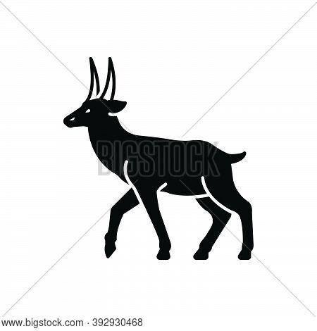 Black Solid Icon For Deer Stag Reindeer Horned Herbivores Nature Animal Jungle Wildlife Zoo