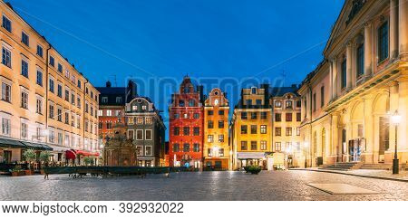 Stockholm, Sweden. Famous Old Colorful Houses, Swedish Academy And Nobel Museum In Old Square Storto