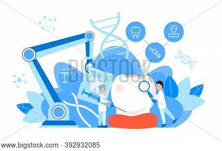 Dentist Service Vector Concept For Landing Page. Tiny Dentists Make X-ray Scan Of Teeth To Help Toot