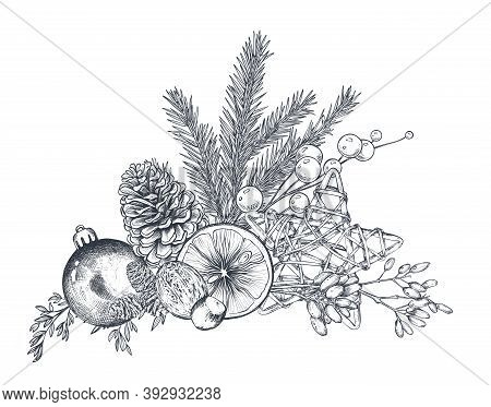 Vector Christmas Floral Arrangement For Greeting Card Or Invitation With Hand Drawn Winter Plants, P