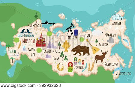 Map Of Russia. Flat Cartoon Of Russian Country With Its Famous Landmarks. Cathedral, Musk, Bear And