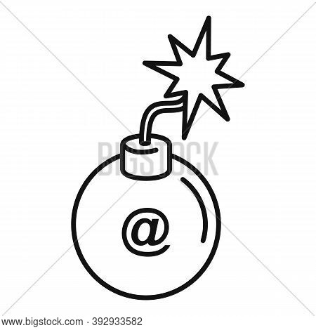 Email Fraud Bomb Icon. Outline Email Fraud Bomb Vector Icon For Web Design Isolated On White Backgro