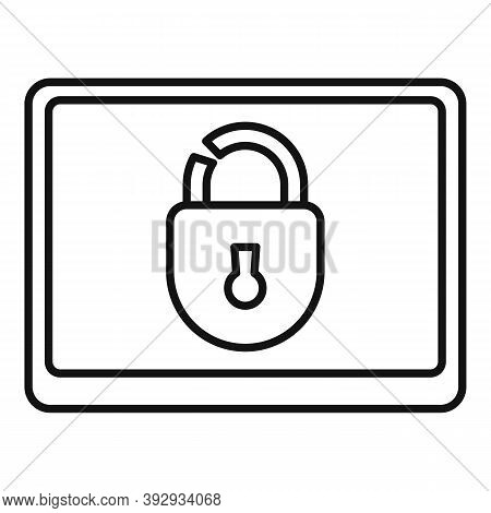 Tablet Unlock Fraud Icon. Outline Tablet Unlock Fraud Vector Icon For Web Design Isolated On White B