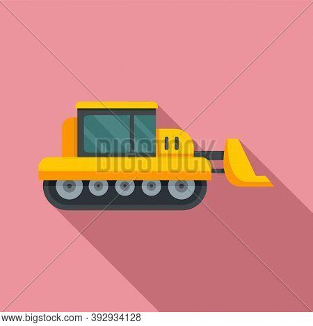 Bulldozer Icon. Flat Illustration Of Bulldozer Vector Icon For Web Design