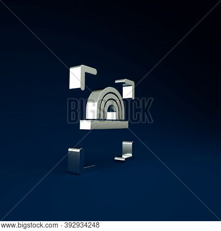 Silver Fingerprint Icon Isolated On Blue Background. Id App Icon. Identification Sign. Touch Id. Min