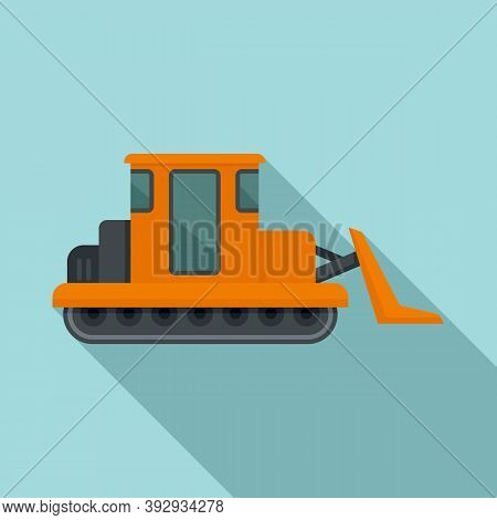 Building Bulldozer Icon. Flat Illustration Of Building Bulldozer Vector Icon For Web Design