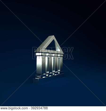 Silver Courthouse Building Icon Isolated On Blue Background. Building Bank Or Museum. Minimalism Con