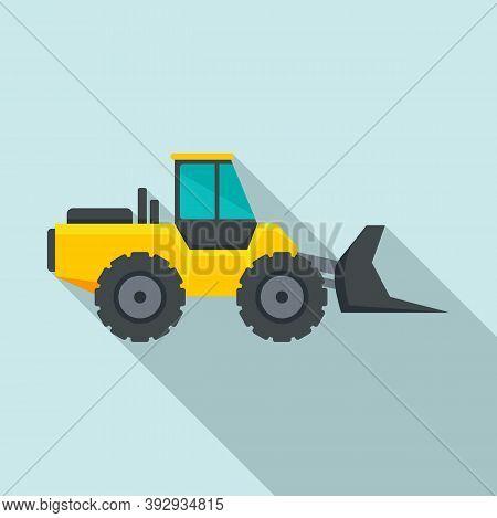 Machinery Bulldozer Icon. Flat Illustration Of Machinery Bulldozer Vector Icon For Web Design