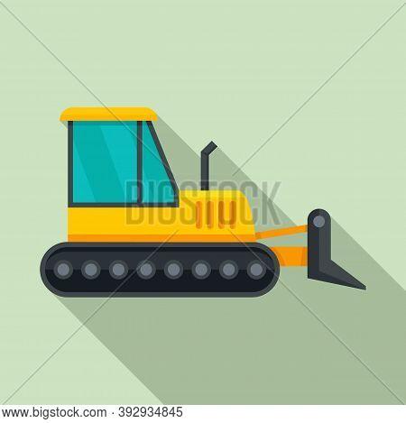Job Bulldozer Icon. Flat Illustration Of Job Bulldozer Vector Icon For Web Design