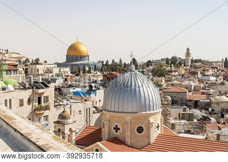 Jerusalem, Israel, October 24, 2020 : View From The Roof Of The Austrian Hospice Building To The Dom