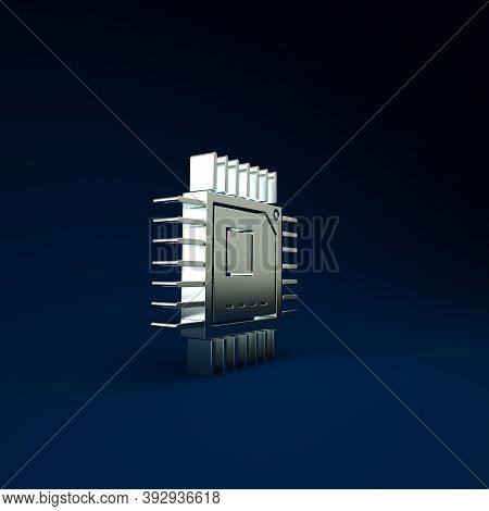 Silver Computer Processor With Microcircuits Cpu Icon Isolated On Blue Background. Chip Or Cpu With