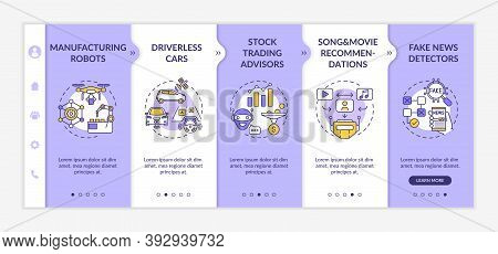 Ai Application 2 Onboarding Vector Template. Manufacturing Smart Robots And Drones. Driverless Cars.