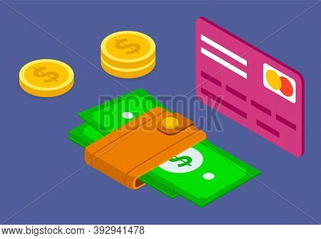 Finance Concept, Credit Card, Golden Coins, Wallet With Dollars, Business Financial, Payment With El