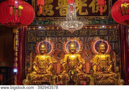 Bangkok/thailand- 14 Dec 2019:golden Buddha Statue In Wat Mangkon Kamalawat  Bangkok City Thailand.t
