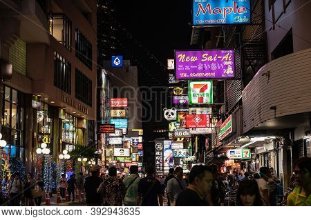 Bangkok/thailand-3 Dec 2019:unacquainted Tourist Or People Walking In Soi Thaniya Silom Road Bangkok