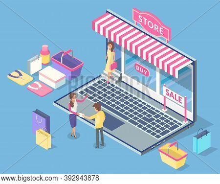 Cartoon Online Store With Striped Canopy, Inscription Buy, Sale. The Seller Gives Man Gift And Invit