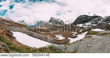 Reinheimen National Park, Norway. Lake Ovstevatnet In Mountains Landscape In Early Summer. Mountain