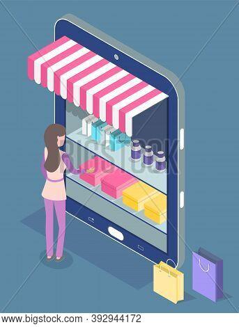 Online Shopping. Isometric 3d Digital Tablet With Online Shop. Stylish Woman Shopper Choosing, Buyin