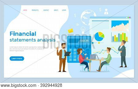 Financial Statements Analysis, Landing Page Of Business Website, People Calculate Income Of Company.