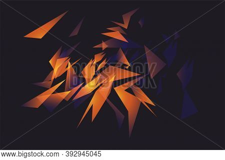Abstract Shapes Explosion. Shards Of Broken Glass. Glowing Dynamic Background For Sport, Music Or Co