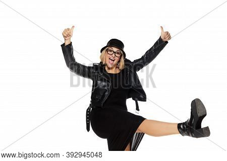 Rockstar. Beautiful Young Blonde Woman In Total Black Attire, Outfit And Eyewear Isolated On White S