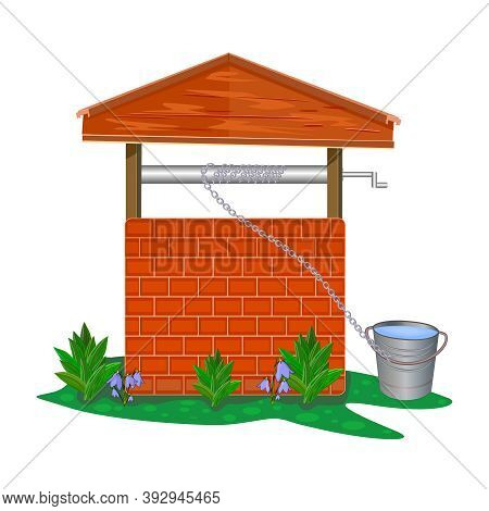 Brick And Wood Water Well Isolated On White Background. Rustic Cartoon Well Of Fresh Drinking Water