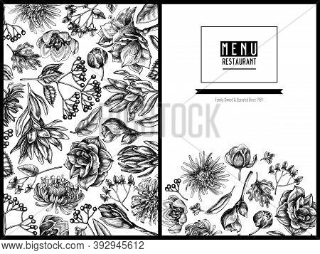 Menu Cover Floral Design With Black And White Viburnum, Hypericum, Tulip, Aster, Leucadendron, Amary