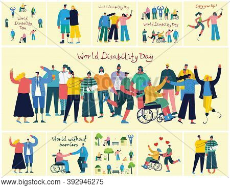 Vector Backgrounds With Disabled People, Young Invalid Persons And Men And Women Helping. World With