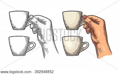 Hand Holding A Cup Of Coffee. Vintage Black Vector Engraving