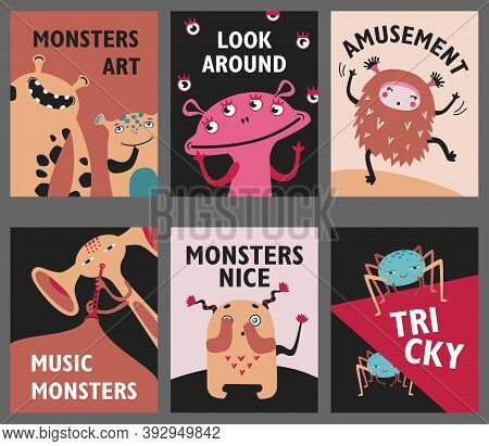 Monsters Posters Set. Cute Creatures Or Beasts Vector Illustrations With Amusement Or Music Text. Sh