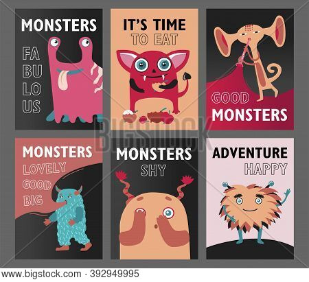 Monsters Flyers Set. Cute Funny Creatures Or Beasts Vector Illustrations With Text. Show For Kids Co