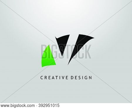 V Letter Logo. Modern Abstract  Of Initial V With Simple Leave Shape. Eco Nature Concept Design.