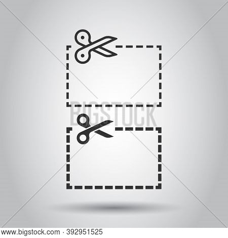 Coupon Cut Lines Icon In Flat Style. Scissors Snip Sign Vector Illustration On White Isolated Backgr