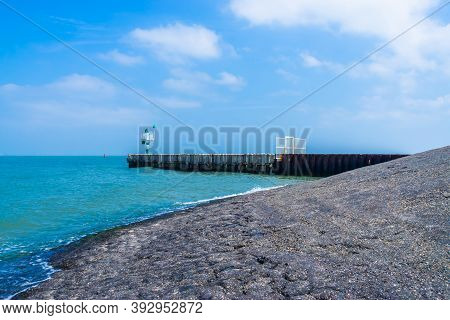 Scenery Of Breskens Beach With Jetty And Outlook Post, Zeeland, The Netherlands