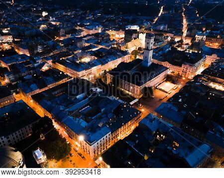 Night Aerial View Of Old European City With Tight Streets