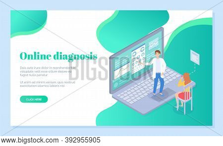 Landing Page Of Medical Site For Online Diagnostics. Woman Sits On Chair And Optometrist Shows Sign