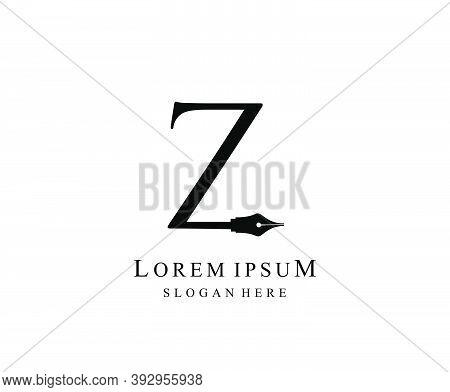The Writer, Simple Pen Z Letter Vintage Logo Design. Perfect For  Journalist, Writer, Artist.