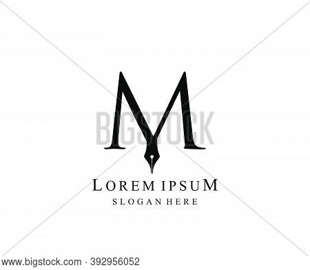 The Writer, Simple Pen M Letter Vintage Logo Design. Perfect For  Journalist, Writer, Artist And Pub