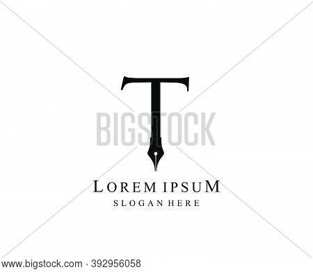 The Writer, Simple Pen T Letter Vintage Logo Design. Perfect For  Journalist, Writer, Artist And Pub